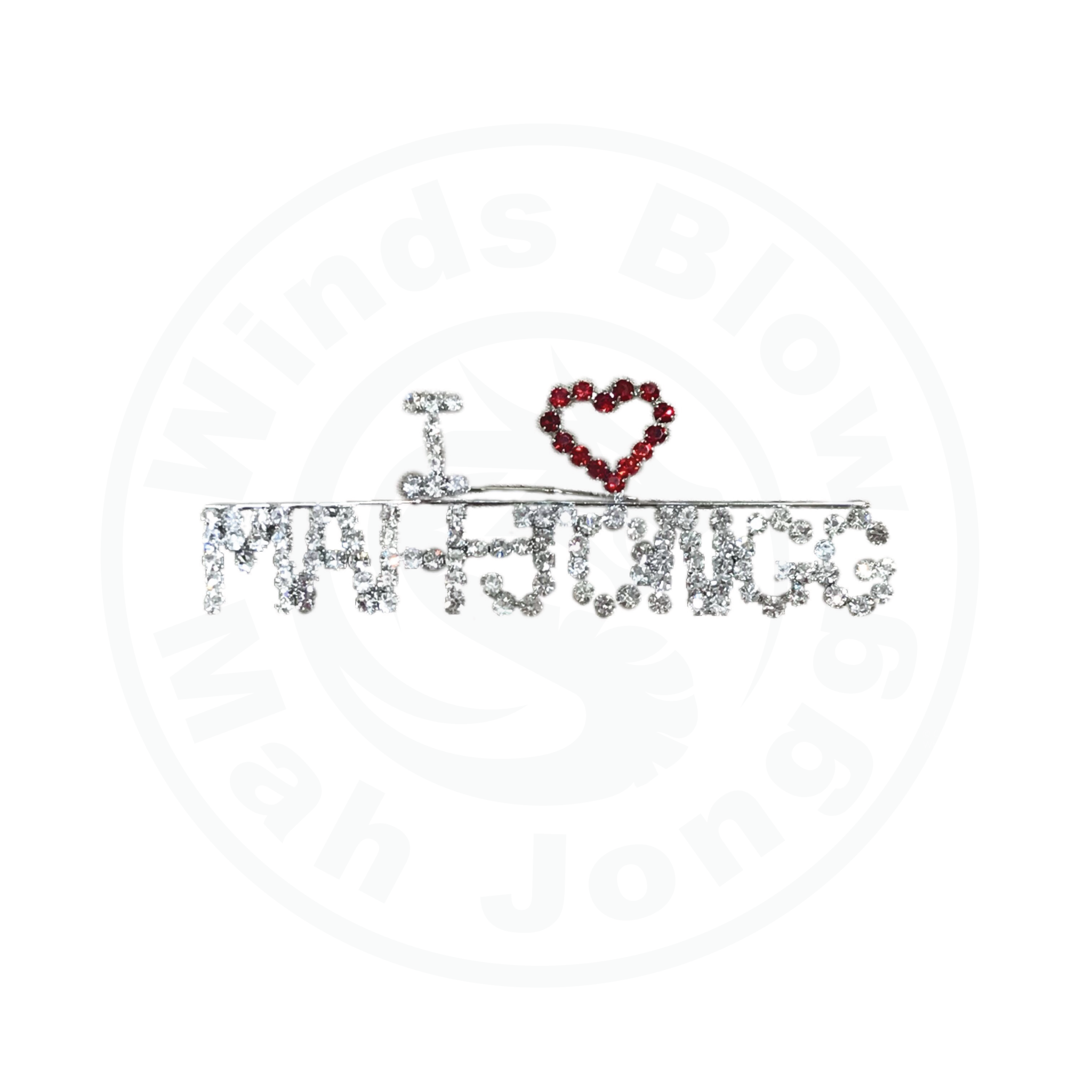 I Love Mah Jongg Rhinestone Pin