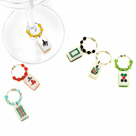 Mah Jongg Tile Wine Charms