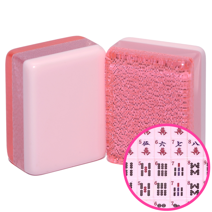 Pink Glitter Mah Jongg Tiles with Pink Faces