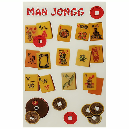 Mah Jongg Stickers Vintage Butterscotch