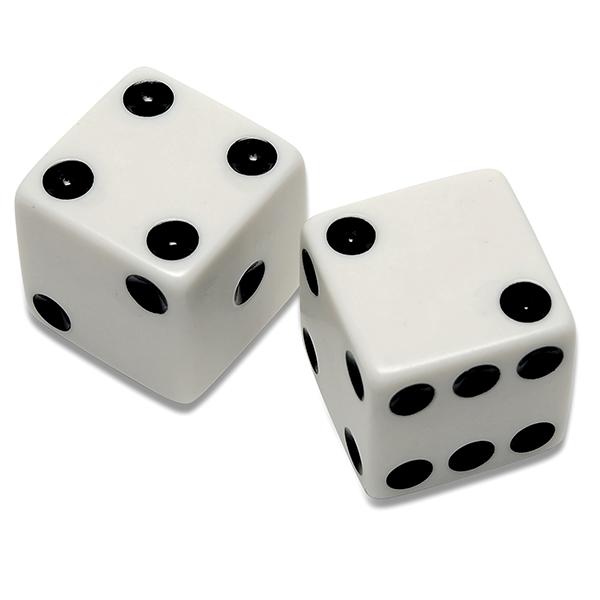 dois dados de 6 faces com resultados distintos, neste caso o resultado da rolagem foi 2 e 4