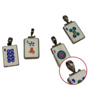 Sterling Silver Vintage Bone Mah Jongg Tile Pendant
