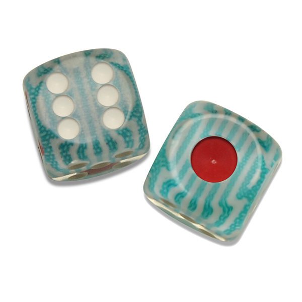Turquoise Stripe Unique Patterned Dice