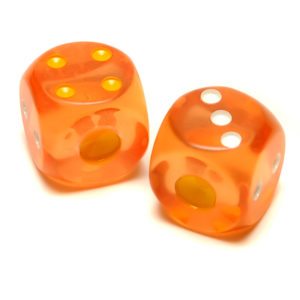 Translucent Orange Playing Dice