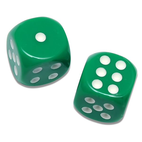 Solid Green Playing Dice