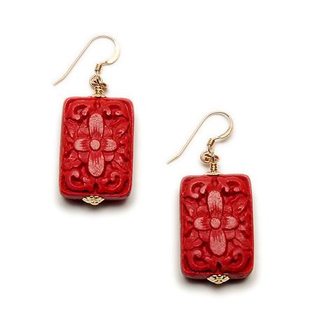 Ilene Sirota Cinnabar Rectangular Earrings