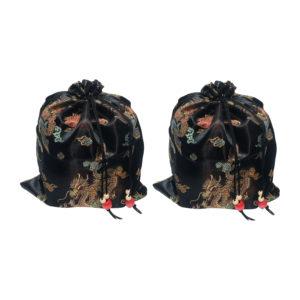 Satin Mah Jongg Tile Bag (set of 2) - Black