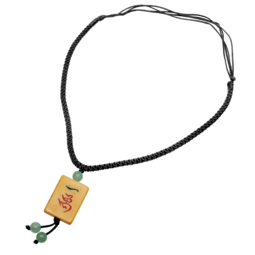 Bone Mah Jongg Tile Necklace Jade Bead Accents