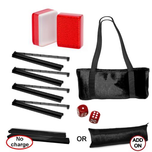 Mah Jongg Set Special Value Mah Jongg Set - Red Glitter Tiles, Combo Racks, Soft Bag