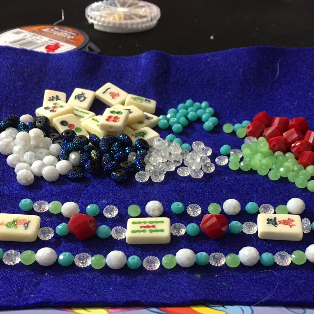DIY Mah Jongg Tile Beaded Bracelet