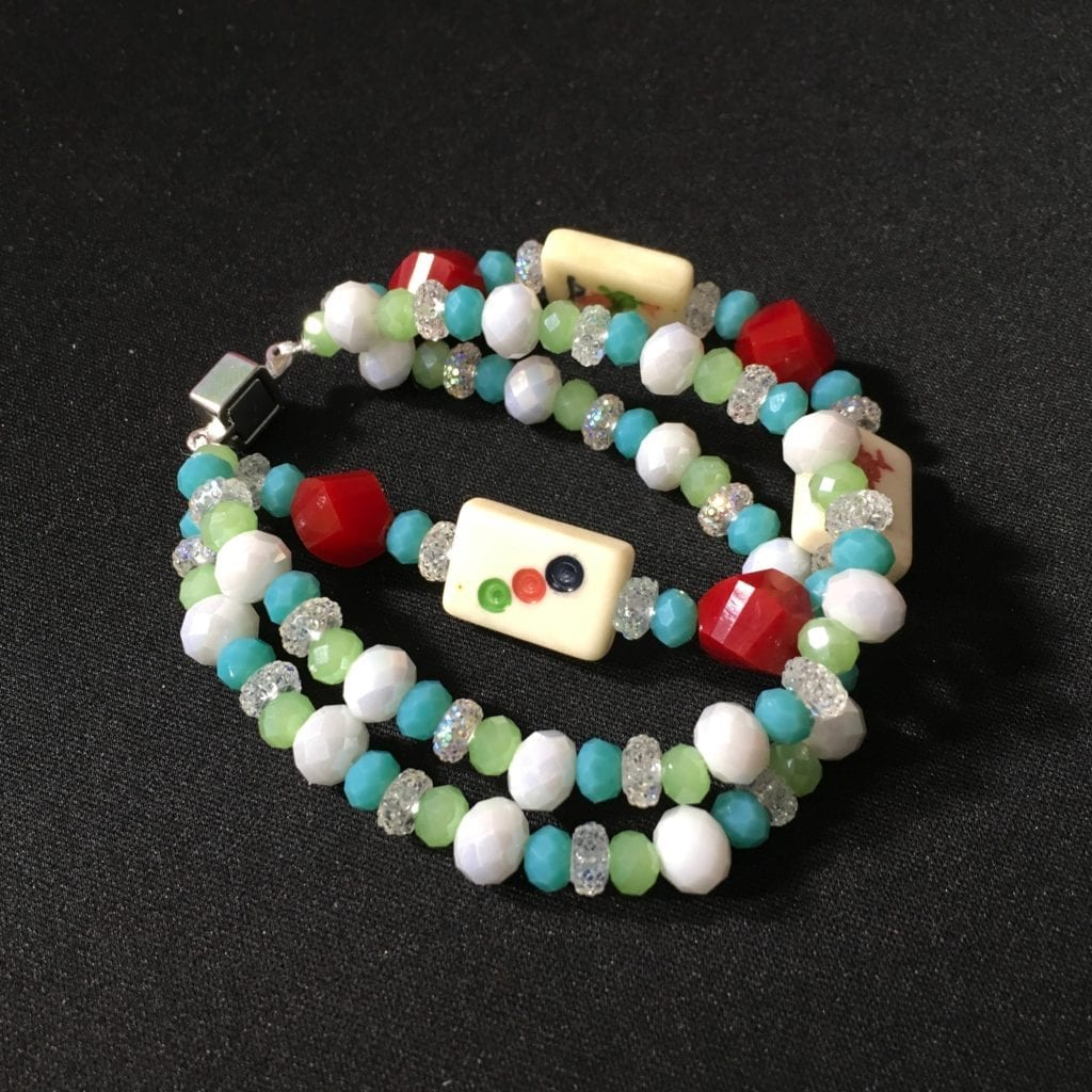 Mah Jongg Tile Beaded Bracelet