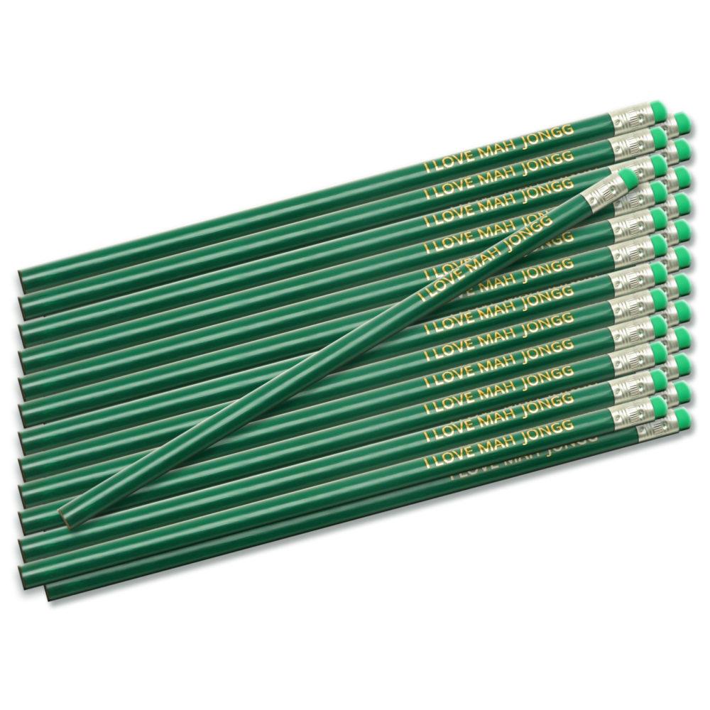 Green I Love Mah Jongg Pencils