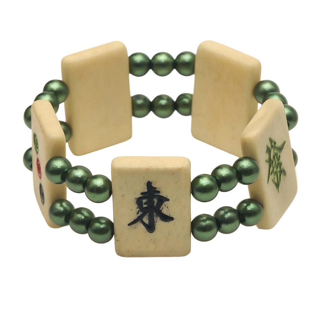 Mah Jongg Tile Bracelet -Green