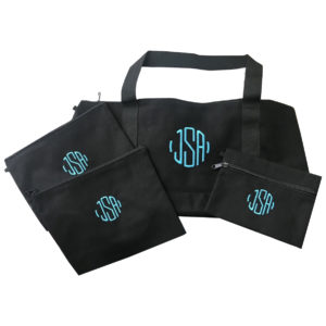 Black Canvas Tote with Cyan Thread