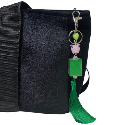 Green Glitter Mah Jongg Tile Tassel w Pig Bag Charm