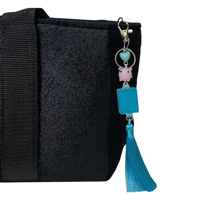 Turquoise Glitter Mah Jongg Tile Tassel w Pig Bag Charm
