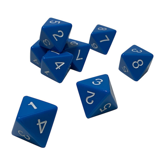 One Jumbo Solid Blue Eight Sided Die (D8)