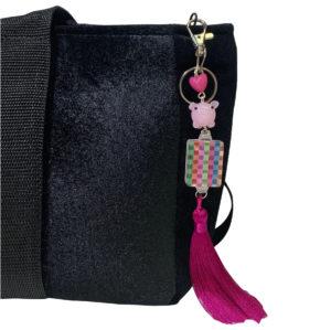 Rainbow Mah Jongg Tile Tassel w Pig Bag Charm