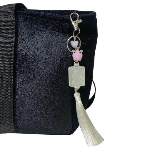 Silver Glitter Mah Jongg Tile Tassel w Pig Bag Charm