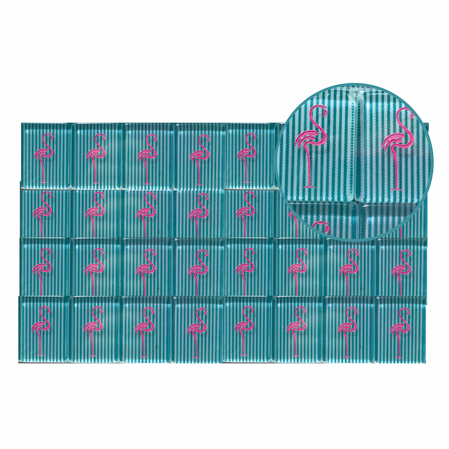 Full Set Mah Jongg Tile Engraving - Flamingos