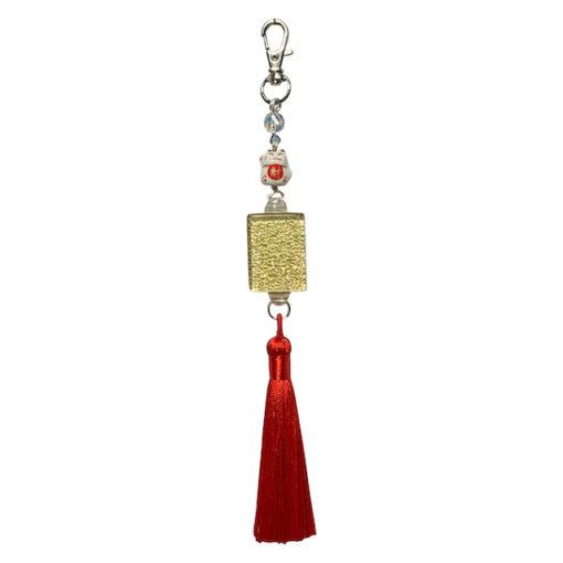 Mah Jongg Tile Bag Charm Tassle Lucky Cat Gold Glitter