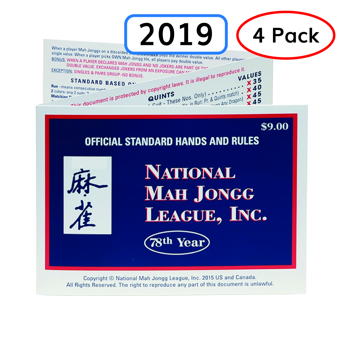 photograph regarding National Mah Jongg League Card Printable called 2019 Nationwide Mah Jongg League (NMJL) 4 Pack of Playing cards