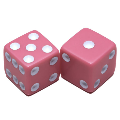 Solid Pink Dice with white dots