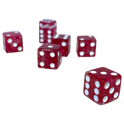 Glitter Playing Dice - Fuchsia Glitter - Pink Glitter Playing Dice