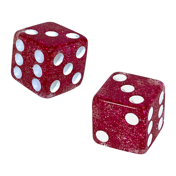 Glitter Playing Dice - Fuchsia Glitter - Pink Glitter Playing Dice