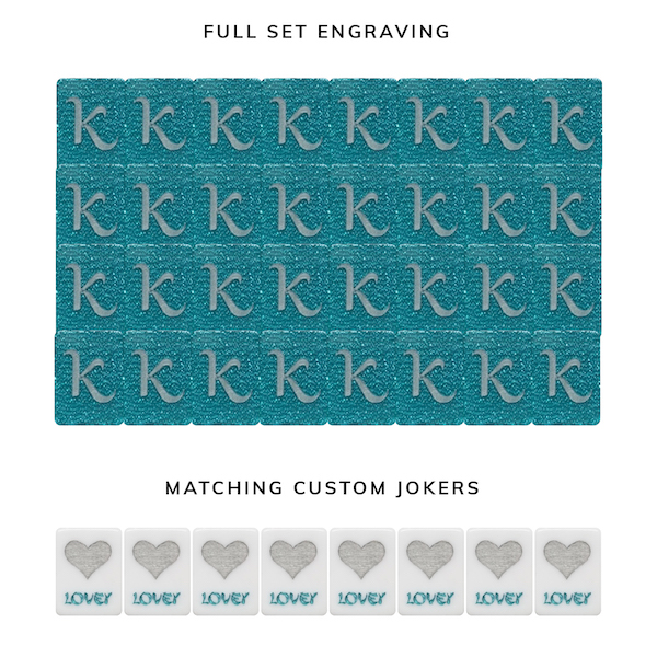 Full Set Engraving K on Teal Glitter American Mah Jongg Tiles