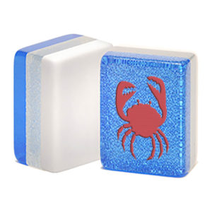 red crab on blue glitter mah jongg tile