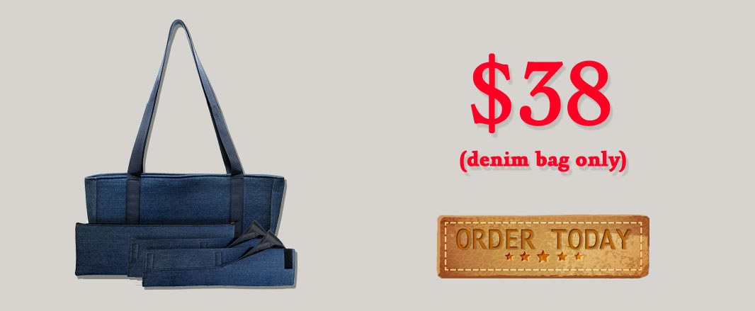 denim mah jongg bag banner