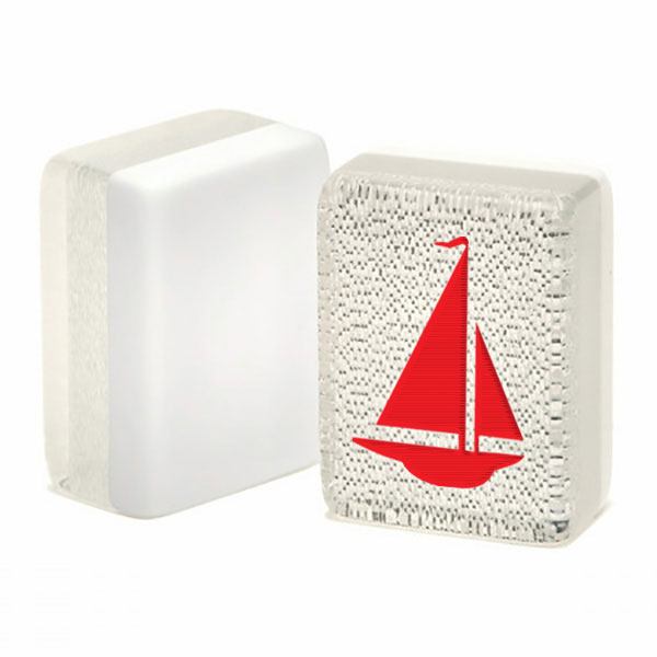 red sailboat on a silver glitter mah jongg tile